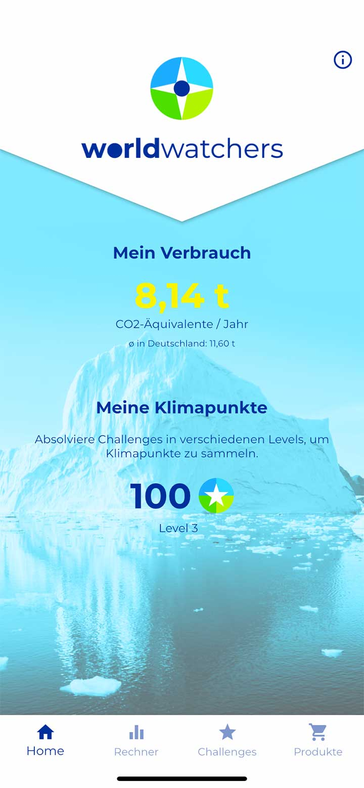 Screenshot der App Klimakompass